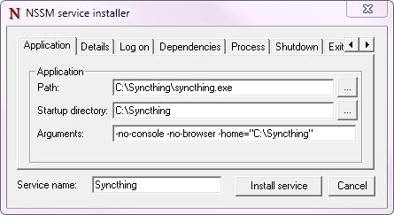 syncthing添加windows开机自动启动和不弹出网页方法